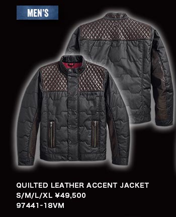 MEN'S QUILTED LEATHER ACCENT JACKET 97441-18VM