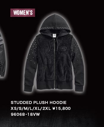 WOMEN'S STUDDED PLUSH HOODIE 96068-18VW