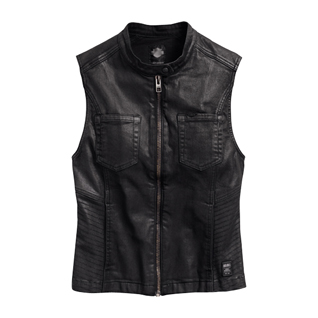 Coated Denim Biker Vest