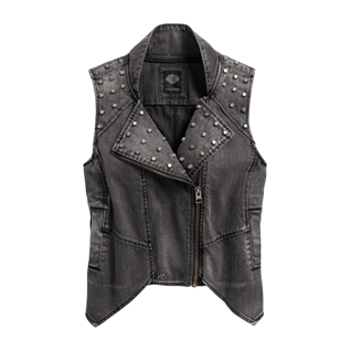 Studded Denim Biker Vest